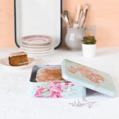 Carrot Cake in Floral Tin