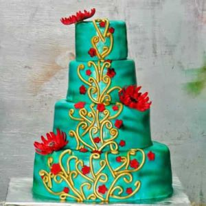 4 Tier Emerald Green Wedding Cake | Dottedi