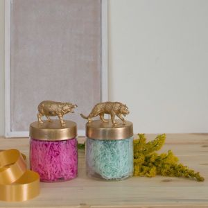 Set of 2 animal themed storage jars - Gold| Dottedi