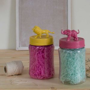 Set of 2 animal themed storage jars - color| Dottedi