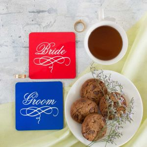coasters set of 2 - bride and groom| Dottedi