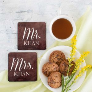 coasters set of 2 - Mr. and Mrs.| Dottedi