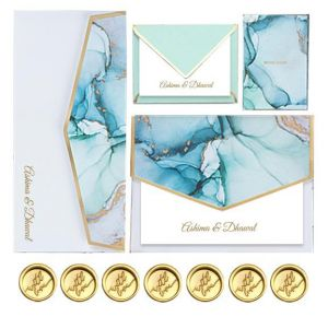 Customized Blue Marble Social Stationery Set