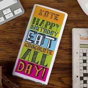 Personalized Chocolate Bar Happy Birthday Eat Chocolate All Day| Dottedi
