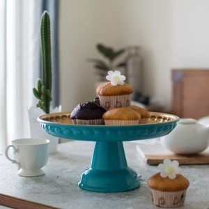 Footed Sky Blue Cake Stand