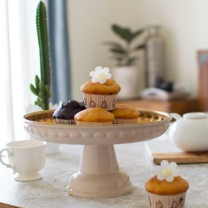 Footed Offwhite Cake Stand