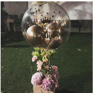 Bubble Floral Hydrangeas Balloon Bouquets
