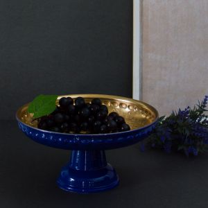Footed Electric Blue Cake Stand