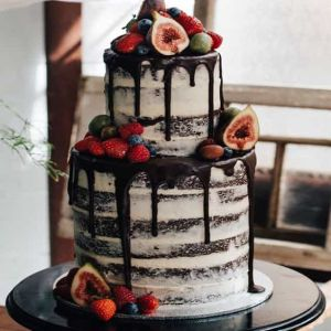 Two Tiered Fruit Naked cake| Dottedi