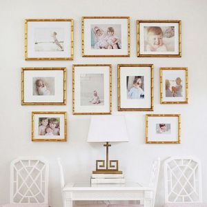 Personalized Abstract Gold Photo Frames Layout Set