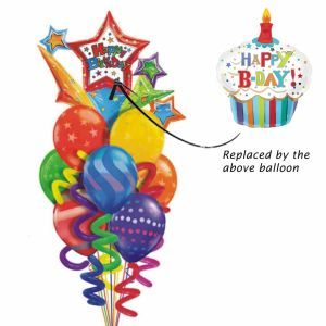 Happy Birthday Cupcake Balloon Bouquet| Dottedi