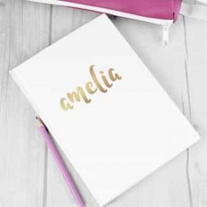 Personalized Notebook Gold Vinyl Name| Dottedi