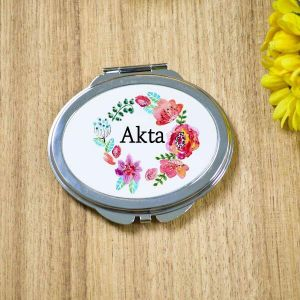 Personalised Pocket Mirror - Japanese Floral with Alphabet| Dottedi