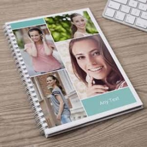 Personalized Notebook 4 photo collage with message| Dottedi
