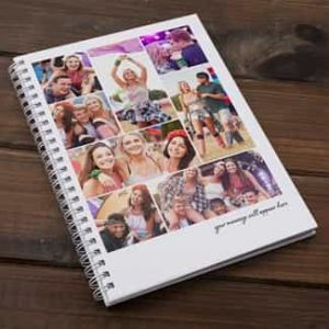 Personalized Notebook 8 photo collage with phrase| Dottedi