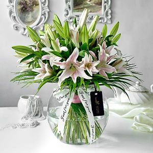 Pink Lily in a Bowl