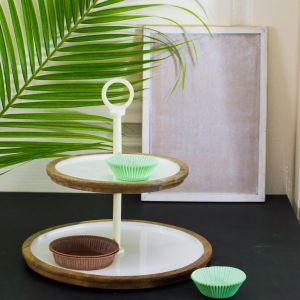 Split it up - 2 Tier Mystical White Wood and Metal Cupcake Stand