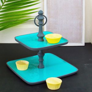 Tiers of Joy -  2 Tier Grey and Blue Cupcake Stand