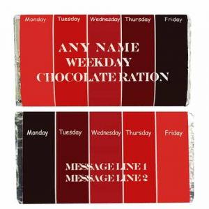 Personalized Chocolate Wrapper: Weekday Chocolate| Dottedi